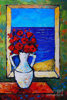 Blue Table Painting - Abstract Poppies By The Sea by Mona Edulesco