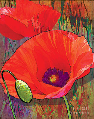 Red Abstract Painting - Abstract Poppy B by Grace Pullen