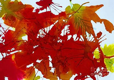 Splashy Art Painting - Abstract - Riot Of Fall Color - Autumn by Ellen Levinson