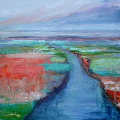 Waterscape Painting - Abstract River by Donna Tuten