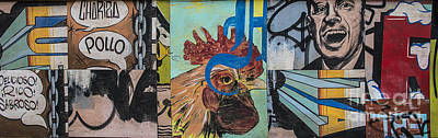 Artful Mixed Media - Abstract Rooster Panel by Terry Rowe