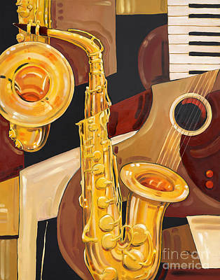 Note Painting - Abstract Saxophone by Paul Brent