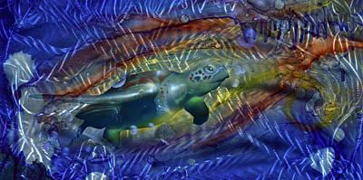 Sea Turtles Painting - Abstract Sea Turtle 1 by Luis  Navarro