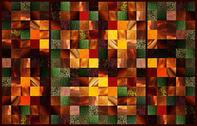 Abstract Squares Triptych Gentle Brown Print by Irina Sztukowski