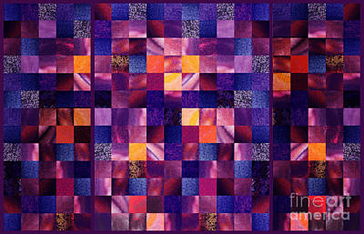 Wall Quilts Painting - Abstract Squares Triptych Gentle Purple by Irina Sztukowski
