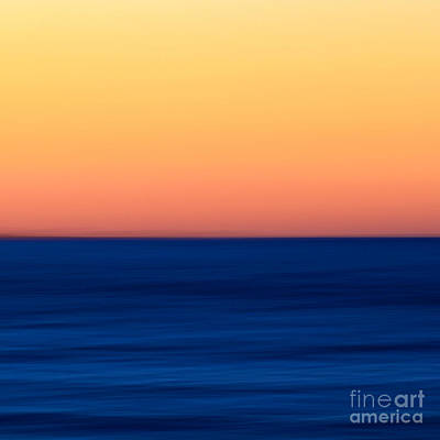 Abstract Sunset Over The Ocean Print by Katherine Gendreau