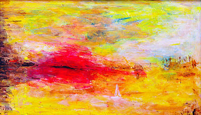 House Decoration Art Painting - Abstract Sunset Over The Sea by Martin Capek