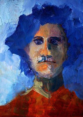 Abstract Thinking Man Portrait Print by Nancy Merkle