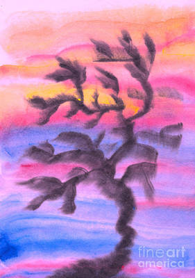 Ink Painting - Abstract Tree At Sunset by Kerstin Ivarsson