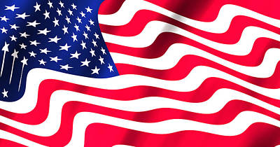 Abstract U S Flag Print by Daniel Hagerman