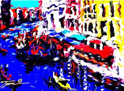 Old Sheet Music Mixed Media - Abstract Venice by Jonathan Tyson