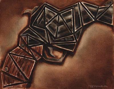 Abstract Vintage Hand Gun Art Print Print by Tommervik