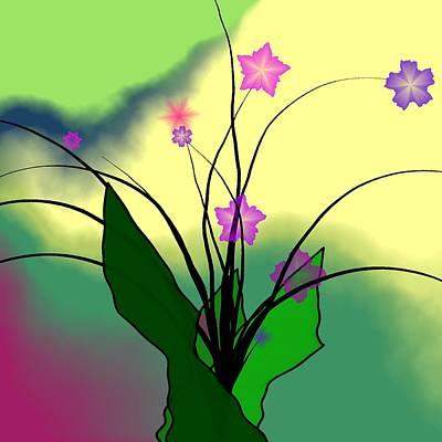 Abstract Violets Print by GuoJun Pan