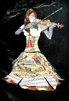 Abstract Violin Painting Violinist Art Steampunk In Design Dolce Concerto  Print by Holly Anderson