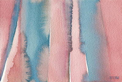 Abstract Watercolor Painting - Coral And Teal Blue Wide Stripes Print by Beverly Brown