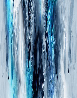 Abstraction Painting - Abstract Waterfall Turquoise Flow by Irina Sztukowski