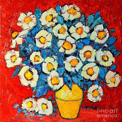 Vivid Colour Painting - Abstract Wild White Roses Original Oil Painting by Ana Maria Edulescu