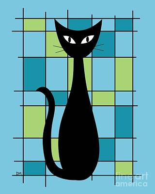 Abstract With Cat In Blue Print by Donna Mibus