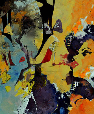 Ink Painting - Abstract Women 010 by Corporate Art Task Force