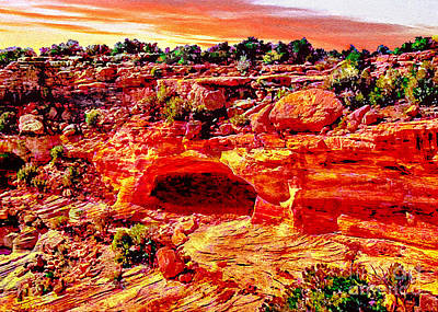Whitehouse Digital Art - Cave In Canyon Dechelly National Park - Sunset by Bob and Nadine Johnston