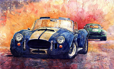 Watercolour Painting - Ac Cobra Shelby 427 by Yuriy  Shevchuk
