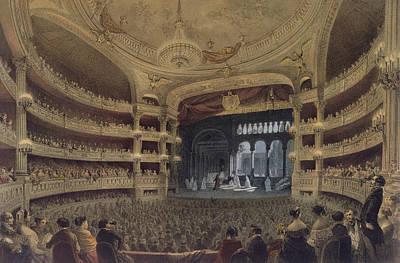 The View Drawing - Academie Imperiale De Musique Paris by Louis Jules Arnout