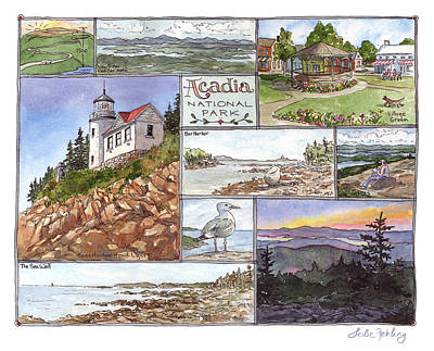 Maine Painting - Acadia Collage by Leslie Fehling