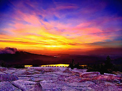 Acadia National Park Cadillac Mountain Sunrise Forsale Original by Bob and Nadine Johnston