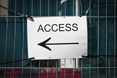 Black Metal Fence Photograph - Access Sign by Tom Gowanlock