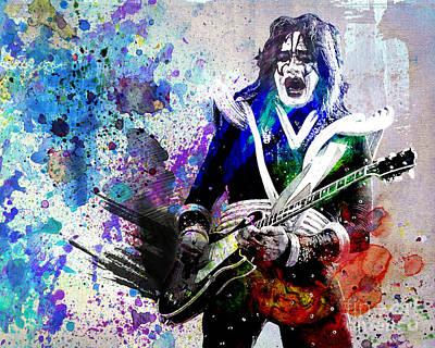 Ace Frehley - Kiss Original Painting Print Print by Ryan Rock Artist