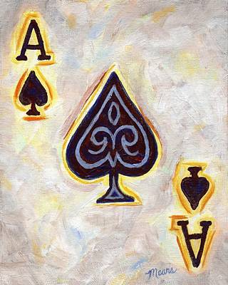 Cards Painting - Ace Of Spades by Linda Mears
