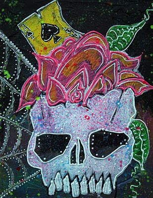 Skull Cards Mixed Media - Ace Of Spades by Laura Barbosa