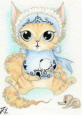 Cats Drawing - Aceo Baby Kitty by Jennifer  Anne Esposito