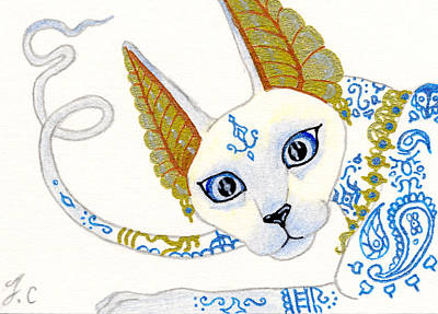Extinct And Mythical Drawing - Aceo Bast Cat by Jennifer  Anne Esposito
