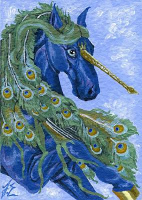 Extinct And Mythical Painting - Aceo Blue Peacock Unicorn by Jennifer  Anne Esposito