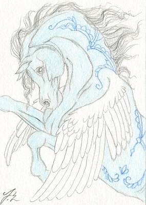 Pegasus Drawing - Aceo Blue Pegasus 2 by Jennifer  Anne Esposito