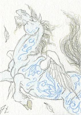 Pegasus Drawing - Aceo Blue Pegasus by Jennifer  Anne Esposito