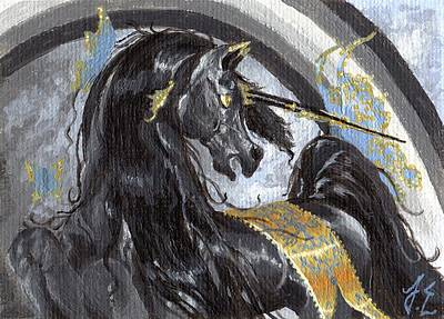 Unicorn Painting - Aceo Gilded Dark Beauty by Jennifer  Anne Esposito