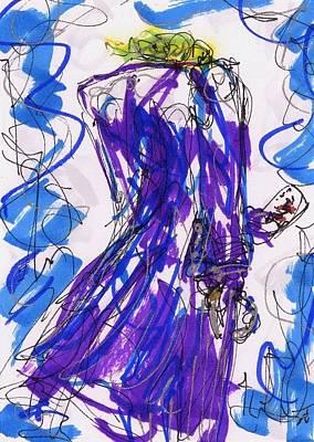 Heath Ledger Drawing - Aceo Joker V by Rachel Scott