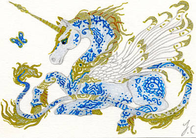 Pegasus Drawing - Aceo Porcelain Unicorn by Jennifer  Anne Esposito