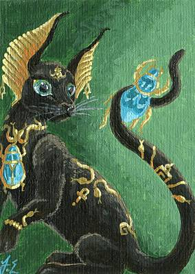 Beetle Cat Painting - Aceo Scarab Jewel Cat by Jennifer  Anne Esposito