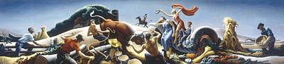 Achelous And Hercules Print by Thomas Benton
