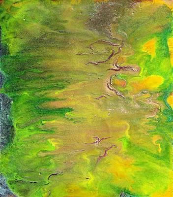 Acid Green Abstract Print by Julia Apostolova