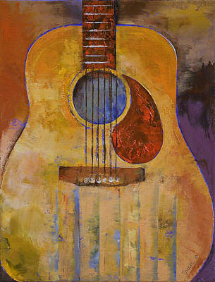 Gitarre Painting - Acoustic Guitar by Michael Creese