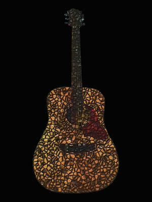 Acoustic Guitar Digital Art - Acoustic Guitar Mosaic by Flo Karp
