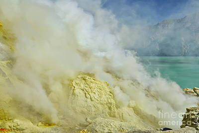 acrid steam and yellow sulphur in crater of vulcano Kawah Ijen Java Indonesia Original by Juergen Ritterbach