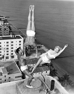 Daring Photograph - Acrobatic Trio by Underwood Archives
