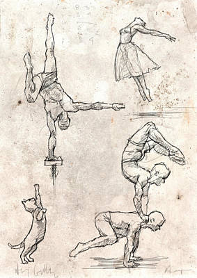 Acrobats And Dancer With Cat Print by H James Hoff