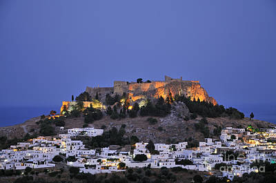 Acropolis And Village Of Lindos During Dusk Time Print by George Atsametakis