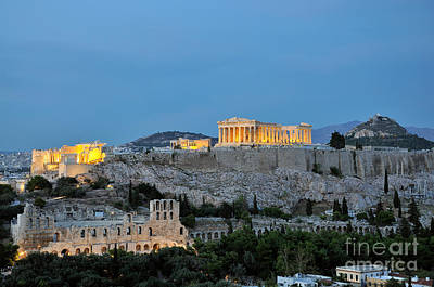 Greek Photograph - Acropolis Of Athens During Dusk Time by George Atsametakis